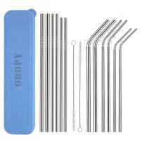 OROPY SUS304 Stainless Steel Straws Set of 12, Food Grade Metal Straws with Carrying Case and Cleaning Brush (6 Straight + 6 Bent + 2 Cleaning Brush+1 Carring Case)