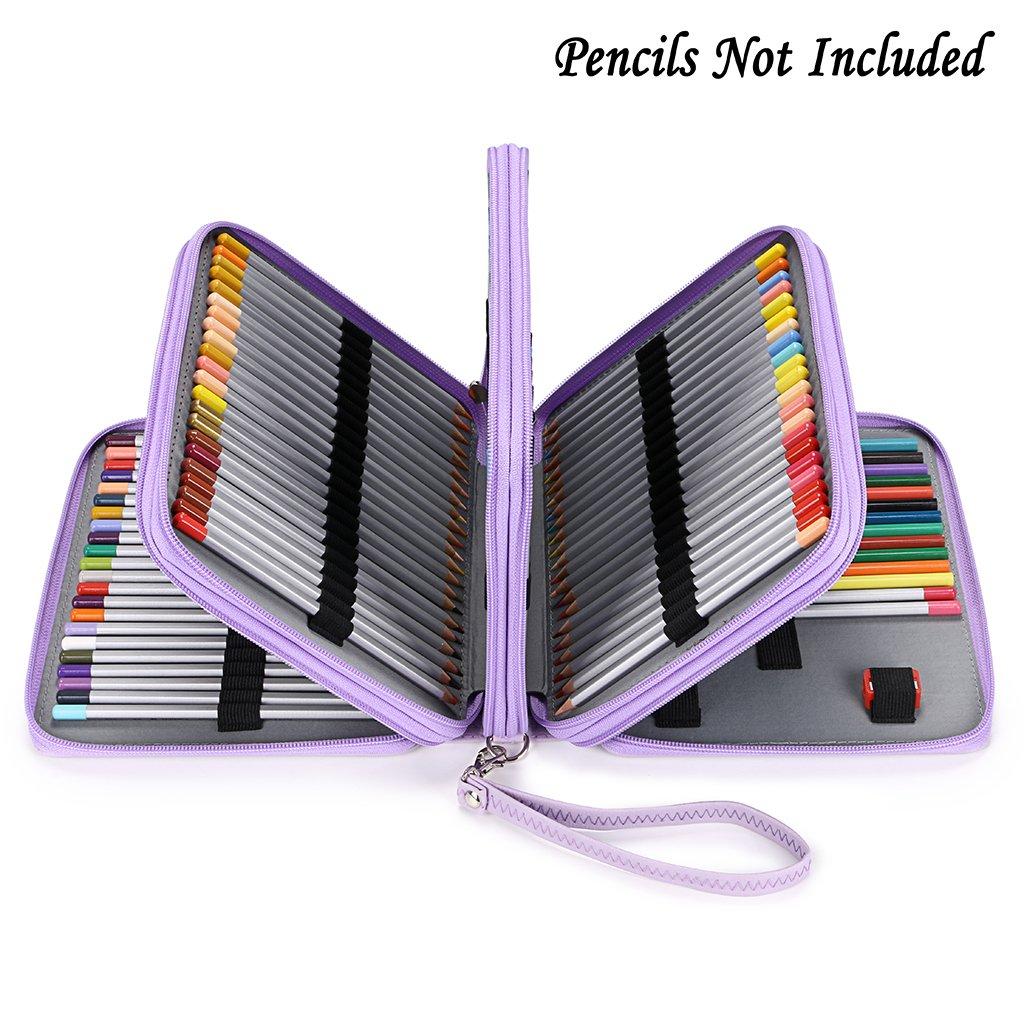BTSKY160 Slots Colored Pencil Case- Deluxe PU Leather Handy Pencil Holder Organizer Zipper Pencil Box Large with Handle Strap for Colored Pencils Watercolor Pencils(Purple)