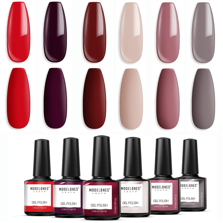 Modelones Gel Nail Polish Set - Red Grey Series 6 Colors Collection Nail Art Gift Box, Soak Off UV LED Nail Varnish Manicure 0.33 OZ