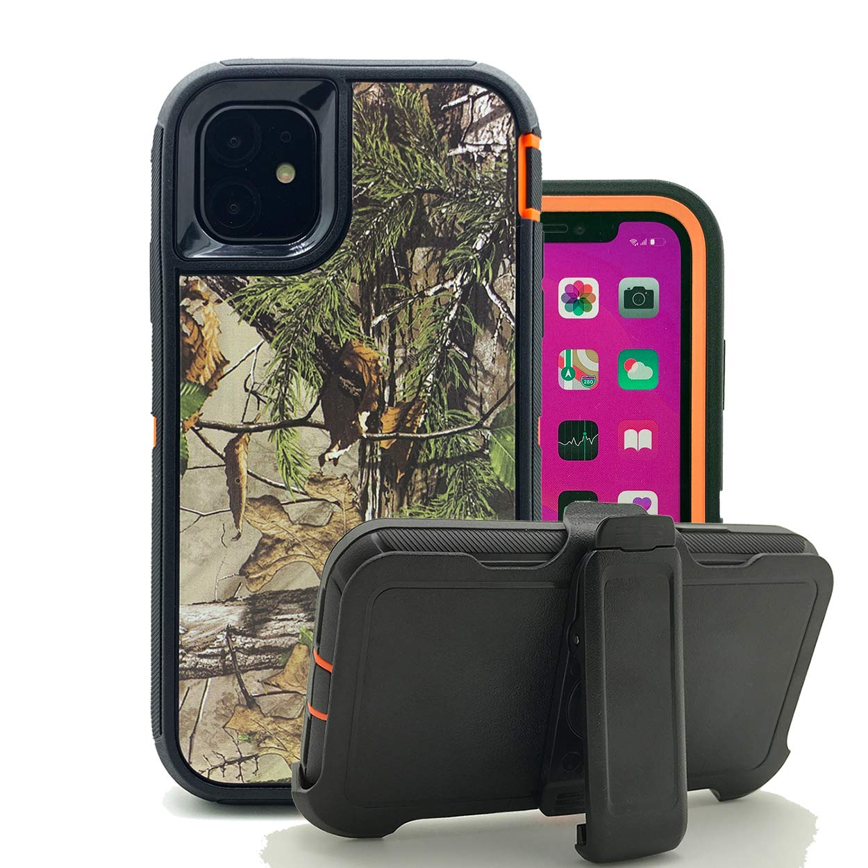 Harsel Heavy Duty Scratch Resistant Defender Camouflage Design Hybrid Armor Military Grade Protection Shockproof Durable Case Cover Bumper with Belt Clip for iPhone 11 Pro (Forest Orange)