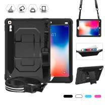 for iPad 9.7 Case, iPad 2018 Case, Rugged Shockproof Heavy Duty Protective Case with Pencil Pen Holder, Kickstand, Shoulder Strap and Storage Pouch for iPad 9.7 Inch A1893 A1954 A1822 A1823