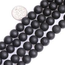 "JOE FOREMAN 10mm Round Black Frost Agate Semi Precious Genstone Beads for Jewelry Making Strand 15"""
