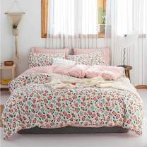 HIGHBUY Girls Floral Duvet Cover Twin Size Kids Pink Flowers Bedding Sets Premium Cotton Duvet Cover Set Twin Single Reversible Grids Bedding Sets for Teens Twin Bedding Collection