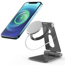 Marchpower Stand for MagSafe Charger, Aluminum Alloy 270° Adjustable, Foldable, Magnetic Wireless Charging Holder— Compatible with MagSafe Charger for iPhone 12 Mini / 12 / 12 Pro / 12 Pro Max— Gray