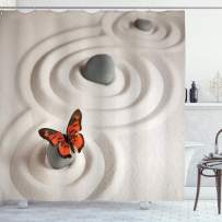 """Ambesonne Butterfly Shower Curtain, Rock on The Sand Butterfly Serenity Life Cycle Nature Meditation Theme, Cloth Fabric Bathroom Decor Set with Hooks, 75"""" Long, Orange Beige"""