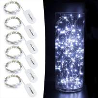 CYLAPEX 6 Pack Cool White Fairy String Lights Battery Operated Fairy Lights Firefly Lights LED Starry String Lights 3.3ft 20 LEDs Silvery Copper Wire for Christmas DIY Decoration Costume Wedding Party