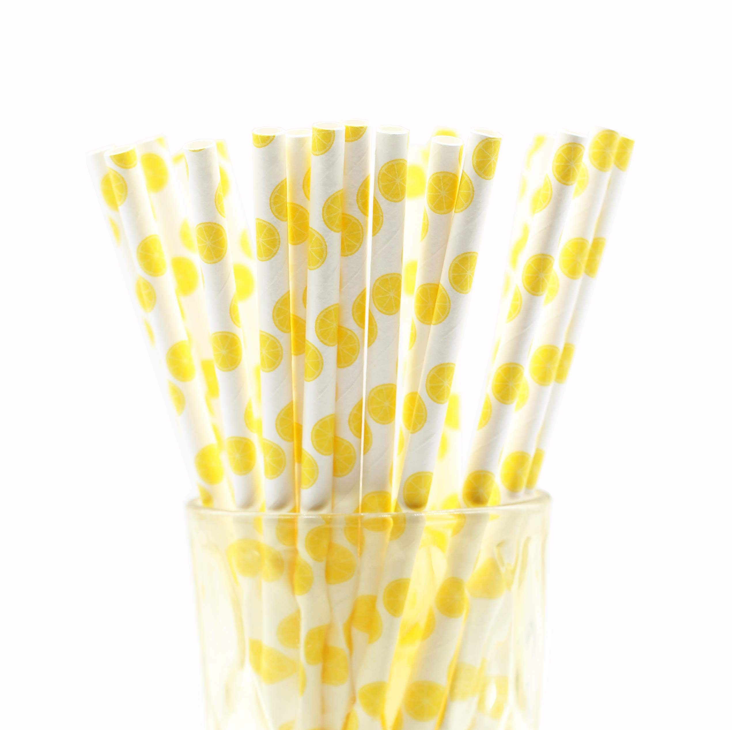 50-Pack Biodegradable Paper Drinking Straws for Party Supplies Bridal/Baby Shower Wedding Decorations, Bulk Paper Straws for Juices, Shakes, Smoothies, Lemon Theme