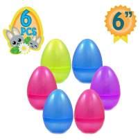 Totem World 6 Jumbo Fillable Plastic Easter Egg Hunt Party Supply Pack - 6-Inch Transparent Glitter Color Plastic Big Egg