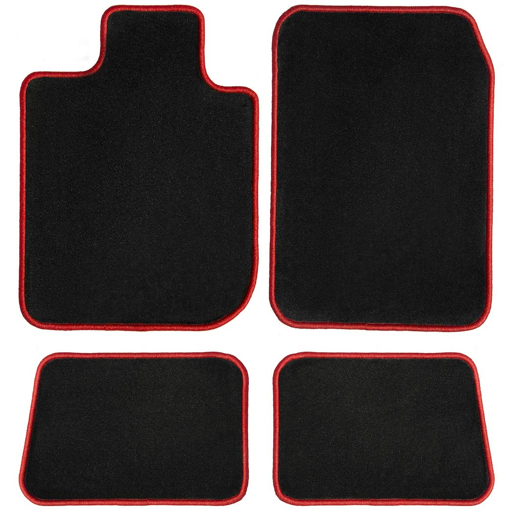 GGBAILEY Black with Red Edging Driver, Passenger & Rear Floor Mats Custom-Fit for Chevrolet Camaro 2010-2015