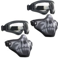 Infityle Airsoft Masks - Half Metal Steel Mesh Face Mask Military Style Comfortable Adjustable and UV400 Goggles Set for Hunting, Paintball, Shooting