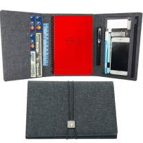 ANSSOW Cover for Rocketbook Everlast Fusion - Executive Size, Waterproof Fabric, Multi Organizer with Pen Loop, Zipper Pocket, Business Card Holder, fits A5 Size Notebook, 9 x 6 inch, Gray
