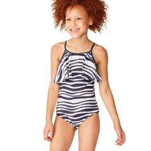 Tea Collection Ruffle One-Piece Swimwear, Girls, Batik Waves