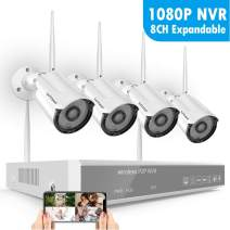 【2020 New】 1080P Security Camera System Wireless,SAFEVANT 8CH Home NVR Systems with 4pcs 960P 1.3MP Outdoor Indoor IP Surveillance Cameras Night Vision Motion Detection