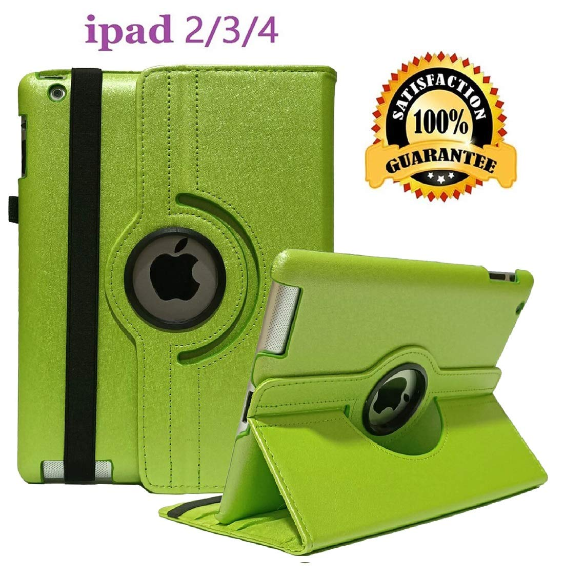 iPad 2/3/4 Case - 360 Degree Rotating Stand Smart Case Protective Cover with Auto Wake Up/Sleep Feature for Apple iPad 4, iPad 3 & iPad 2 (Pale Green)