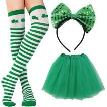 St. Patrick's Day Accessories Shamrock Costume Party Green High Socks Skirt Headband for Women Girls
