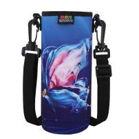 Nuovoware Water Bottle Carrier, Premium Neoprene Portable Insulated Water bottle Holder Bag 1000ML with Adjustable Shoulder Strap Fit Stainless Steel & Plastic Bottles, Large Size, Purple Butterfly