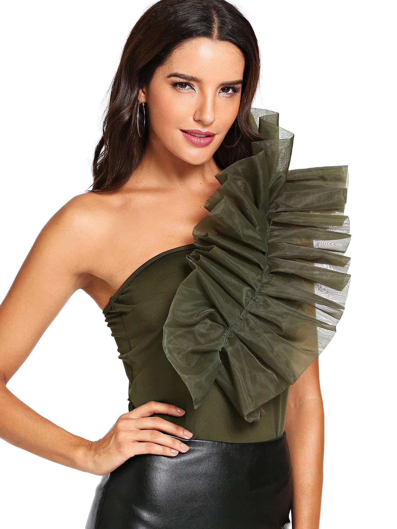 DIDK Womens Plain Frill Trim One Shoulder Bodysuit