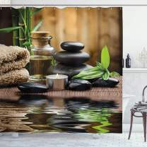"""Ambesonne Spa Shower Curtain, Massage Stone Triplets Herbal Oil and Scent Candles Print, Cloth Fabric Bathroom Decor Set with Hooks, 75"""" Long, Black Brown and White"""