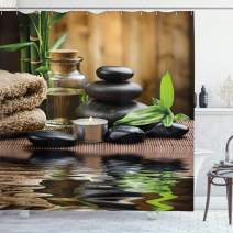 """Ambesonne Spa Shower Curtain, Massage Stone Triplets Herbal Oil and Scent Candles Print, Cloth Fabric Bathroom Decor Set with Hooks, 70"""" Long, Black Brown and White"""