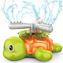 ToyerBee Sprinkler for Kids- Turtle Sprinklers for Yard, Spinning Water Toys for Fun Summer Play, Spray up to 17 Feet and 30-50 Feet in Diameter, Additional Hose Connector, Gift for Boys Girls 3,4,5