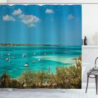 """Ambesonne Sailboat Shower Curtain, Sailboats and Power Boats Anchored in Crystal Clear Waters of The Bahamas, Cloth Fabric Bathroom Decor Set with Hooks, 84"""" Long Extra, Green Teal"""