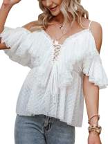 Simplee Women's Off Shoulder Sexy Ruffle Deep V Neck Blouse Shirt Lace Up Top