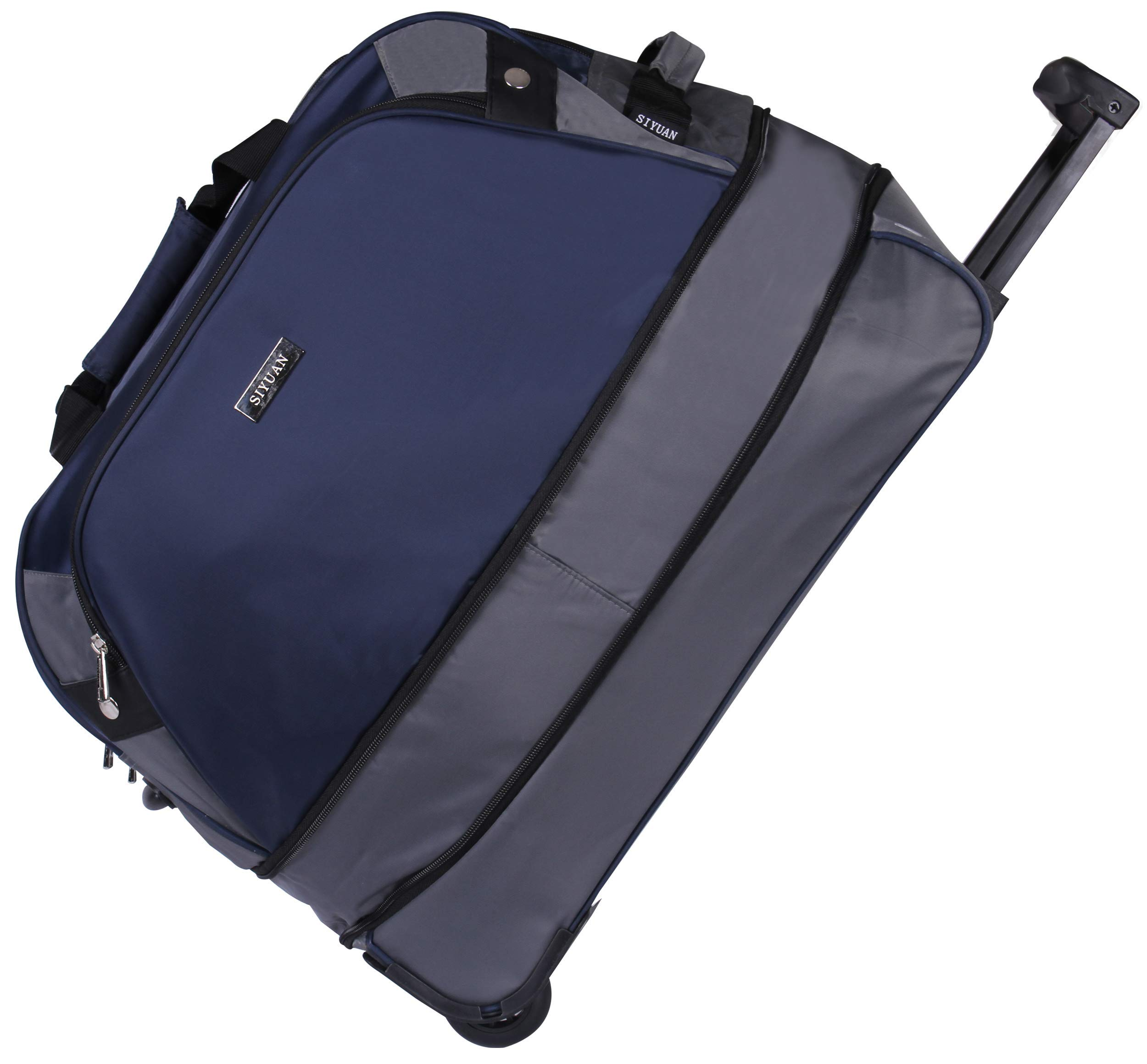 SIYUAN Duffel Bag with Wheels Travel Tote Suitcase Big Carry-on Rolling Suitcase Weekend Luggage Suitcase on Wheels Navy Large 24 Inches