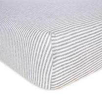 Burt's Bees Baby - Fitted Crib Sheet, Boys & Unisex 100% Organic Cotton Crib Sheet For Standard Crib and Toddler Mattresses (Heather Grey Thin Stripes)