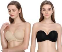 JOATEAY Women's Strapless Bra Full Figure Multiway Red Carpet Underwrie Bra Stay Put Plus Size 2 Pack