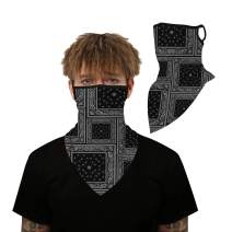 Sensfun Seamless Bandana Triangle Flag Face Scarf Hanging Ears Loops Neck Gaiter Balaclava Outdoors Sports for Men Women