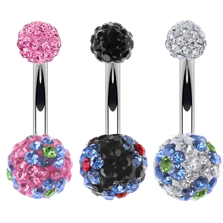 BodyJ4You 3PC Belly Button Ring Set Disco Ball Multicolor CZ Crystal 14G Navel Banana Barbell