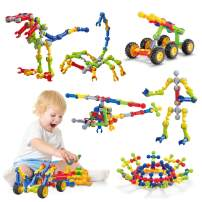 Caferria Kids Building Kit STEM Toys, 110 Pcs Educational Construction Engineering Building Blocks DIY Learning Set for Ages 3-10 Year Old Boys Girls, Best Gift for Children Creative Games Fun Play