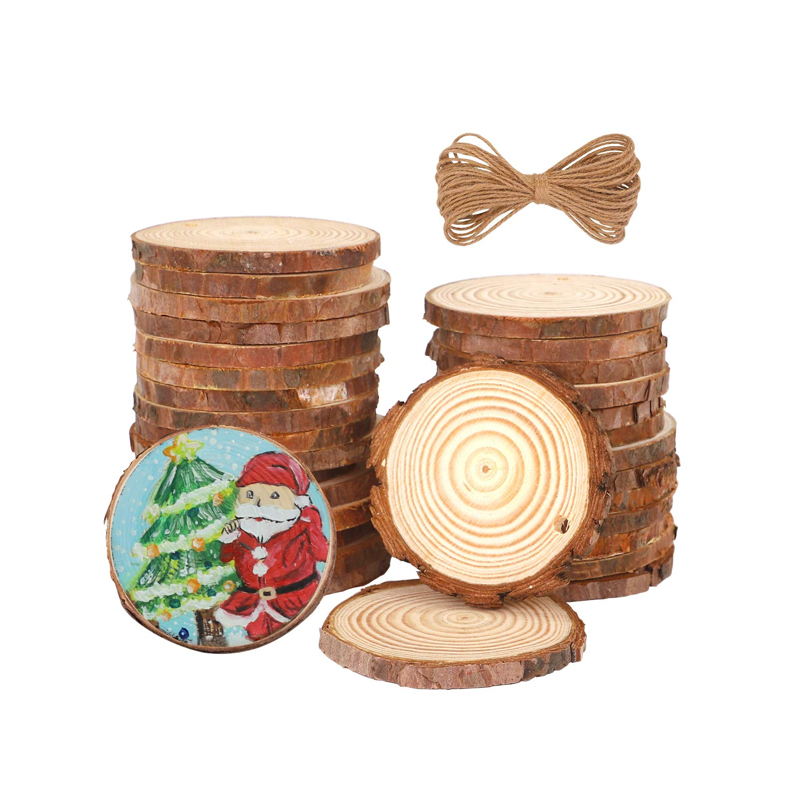 "OPULANE Natural Wood Slices for Ornaments 36 Pcs 2.0-2.4"" Unfinished Wood Rounds Predrilled with Hole Wood Circles Tree Bark for Arts Coasters Christmas DIY Crafts"