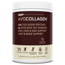 RSP AvoCollagen - Collagen Protein Powder Plus Healthy Fats. Grass Fed Collagen Peptides, Keto, Paleo Friendly, Gluten Free, 20 Servings (Chocolate)