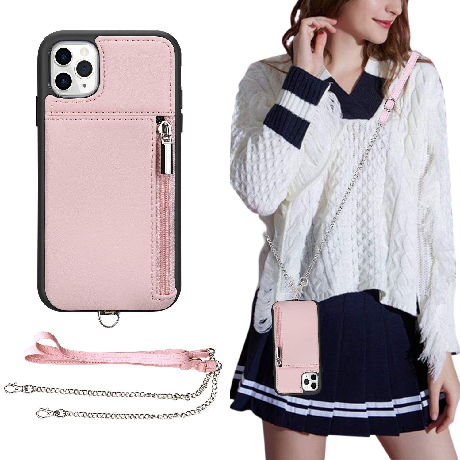 iPhone 11 Pro Max Wallet Case,iPhone 11 Pro Max Crossbody Case,JISON21 iPhone 11 Pro Max 6.5'' Case with Credit Card Holder Slot Zipper Handbag Purse, Protective Leather Case(Pink)