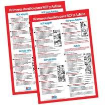 2 Pack: CPR & Choking Posters in Spanish - CPR Wall Charts - School Supplies in Spanish - Spanish CPR Posters Laminated, Choking Signs for Restaurants - 17 x 22 inches