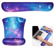Keyboard Wrist Support and Mouse Pad Wrist Rest Support Galaxy, Premium Memory Foam Ergonomic Keyboard Mouse Wrist Rest Set for Gaming/Office/Laptop/Mac, Non Slip Rubber Wrist Support Relief Pain