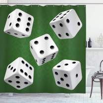"""Ambesonne Modern Shower Curtain, Casino Gamble Rolling Dice Set Green Background Illustration, Cloth Fabric Bathroom Decor Set with Hooks, 70"""" Long, Charcoal Grey"""