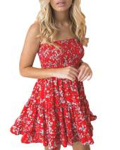 LOMON Tube Top Dresses for Women Strapless A-Line Ruffle Floral Dress (Red,XL)