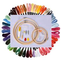 Full Set of Embroidery Starter Kit Cross Stitch Tool Kit Including 5 Pieces Bamboo Hoops, 50 Color Threads, 12 by 18-Inch 11 Count Classic Reserve Aida and Needles Set