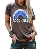 iNewbetter Women's T Shirt Long Sleeve Blouse Good Vibes Letter Print Cute Rainbow Graphic Tunic Tops