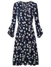 FANSIC Women's Criss-Cross V-Neck Short Sleeve Unique Cross Wrap Swing Long Sleeve Casual Flared Midi Dress