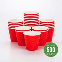 500-CT Disposable Red 8-OZ Hot Beverage Cups with Ripple Wall Design: No Need for Sleeves - Perfect for Cafes - Eco-Friendly Recyclable Paper - Insulated - Wholesale Takeout Coffee Cup