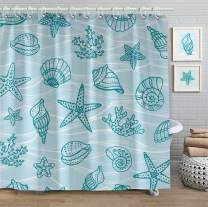 Faitove Shower Curtain 72 X 72 Inch Bathroom Decor Waterproof Curtain with Hooks Polyester (Conch Seashell Coral Starfish Wave Turquoise)