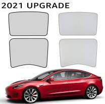 BASENOR Tesla Model 3 Sunshade Front & Rear Glass Roof Sun Shades with Skylight Reflective Covers Set of 4 2021 Upgarde Grey