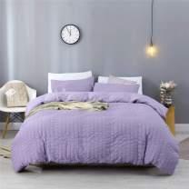 EstoulenDuvetCoverTwinSize, 100%WashedMicrofiberBeddingSet3Piece, SoftandLuxury Stripe Textured Seersucker Duvet Coverwith ZipperClosure&Corner Ties (Purple,Twin)