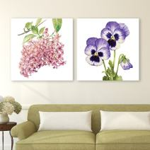 "wall26-2 Panel Square Canvas Wall Art - Watercolor Style Pink and Purple Flowers on The Branch - Giclee Print Gallery Wrap Modern Home Decor Ready to Hang - 16""x16"" x 2 Panels"
