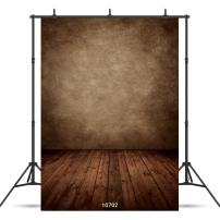 WOLADA 5x7ft Abstract Brown Wood Backdrops for Photography Retro Dark Wooden Floor Wall Vintage Photo Backdrop Photographer Pictures Video Background Studio Props 10702