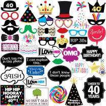 40th Birthday Photo Booth Party Props - 40 Pieces - Funny 40th Birthday Party Supplies, Decorations and Favors