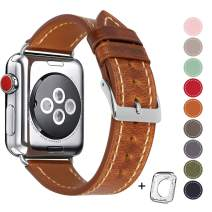 HUAFIY Compatible iWatch Band 38mm 40mm, Top Grain Leather Band Replacement Strap iWatch Series 5/4, 3, 2, 1,Sport, Edition New Retro discoloured Leather (Retro Camel Brown+Silver Buckle, 38mm40mm)
